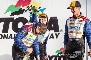 GS podium: champagne for Shelby Blackstock, Ashley Freiberg and John Edwards