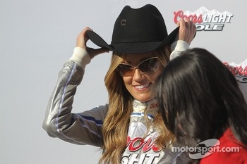 Coors Light girls tries on Austin Dillon's hat