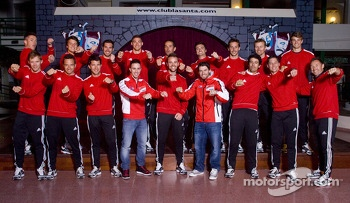Audi drivers group photo with Ducati MotoGP riders Andrea Dovizioso and Cal Crutchlow