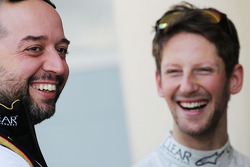 (L to R): Gerard Lopez, Lotus F1 Team Principal with Romain Grosjean, Lotus F1 Team