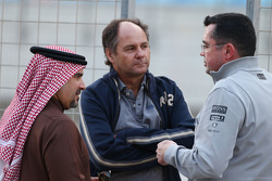 (L to R):HRH Prince Salman bin Hamad Al Khalifa, Crown Prince of Bahrain, with Gerhard Berger, and Eric Boullier, McLaren Racing Director