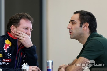 Christian Horner, Red Bull Racing, Sporting Director and Cyril Abiteboul, Team Principal, Caterham F1 Team