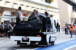 The Mercedes AMG F1 W05 of Nico Rosberg, Mercedes AMG F1 is recovered back to the pits on the back of a truck