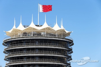 Paddock building and Bahrain flag