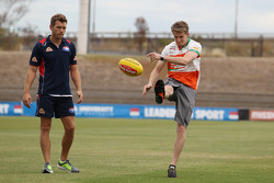 (L to R): Shaun Higgins, Western Bulldogs Australian Rules Footballer with Nico Hulkenberg, Sahara Force India F1 at Whitten Oval