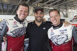 Melbourne Storm captain Cameron Smith with HRT drivers Garth Tander and James Courtney