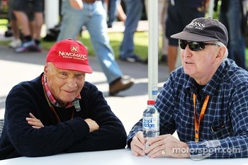 (L to R): Niki Lauda, Mercedes Non-Executive Chairman with John Watson (GBR)
