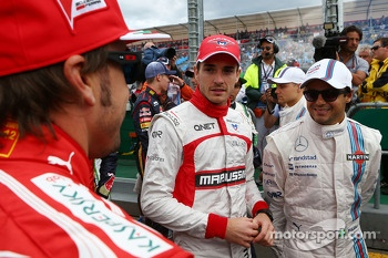 (L to R): Fernando Alonso, Ferrari with Jules Bianchi, Marussia F1 Team and Felipe Massa, Williams on the drivers parade
