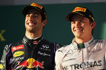 The podium, Red Bull Racing with race winner Nico Rosberg, Mercedes AMG F1