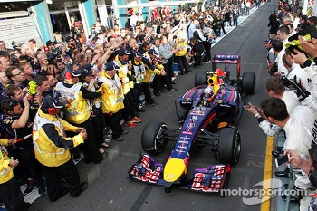 Second placed Daniel Ricciardo, Red Bull Racing RB10 celebrates as he enters parc ferme