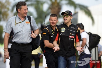 (L to R): Mario Isola, Pirelli Racing Manager with Pastor Maldonado, Lotus F1 Team