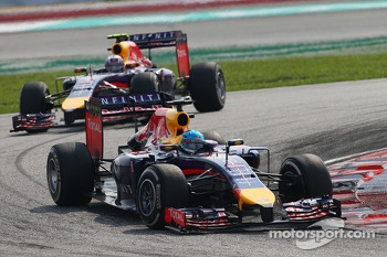 Sebastian Vettel, Red Bull Racing RB10 leads Daniel Ricciardo, Red Bull Racing