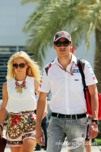 Adrian Sutil, Sauber with his girlfriend Jennifer Becks