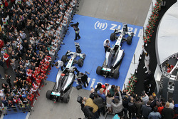 Race winner Lewis Hamilton, Mercedes AMG F1 W05 celebrates on the podium