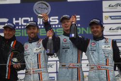 LM GTE AM podium: winners Kristian Poulsen, David Heinemeier Hansson, Nicki Thiim