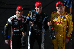 Race winner Simon Pagenaud, second place Ryan Hunter-Reay, third place Helio Castroneves