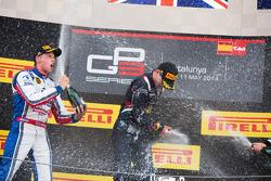 Podium: race winner Alex Lynn, second place Jimmy Eriksson, third place Richie Stanaway