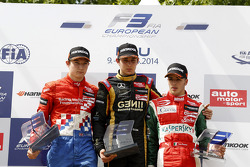 Rookie podium: winner Esteban Ocon, second place Jake Dennis, third place Antonio Fuoco