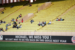 A message of support for Michael Schumacher, at the charity football match