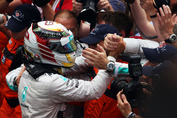 Lewis Hamilton, Mercedes AMG F1 celebrates his second position with the team in parc ferme