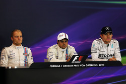 The post qualifying FIA Press Conference, Williams, second; Felipe Massa, Williams, pole position; Nico Rosberg, Mercedes AMG F1, third  21