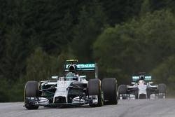 Nico Rosberg, Mercedes AMG F1 W05 leads team mate Lewis Hamilton, Mercedes AMG F1 W05