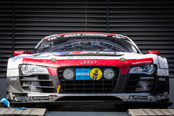 The winning #4 Phoenix Racing Audi R8 LMS ultra on the car podium