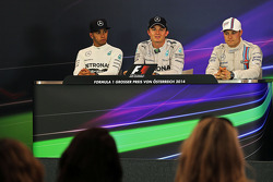 The post race FIA Press Conference, Mercedes AMG F1, second; Lewis Hamilton, Mercedes AMG F1, race winner; Daniel Ricciardo, Red Bull Racing, third