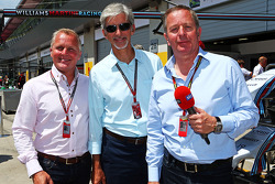 Johnny Herbert, Sky Sports Presenter with Damon Hill, and Martin Brundle, Sky Sports Commentator