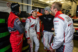 Markus Winkelhock, Laurens Vanthoor and Christopher Haase share a laugh