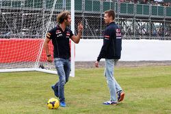Jean-Eric Vergne, Scuderia Toro Rosso and Daniil Kvyat, Scuderia Toro Rosso take penalty kicks