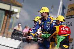 Andrew Jordan, Pirtek Racing celebrates on the podium