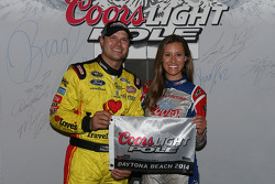 David Gilliland celebrates his pole position