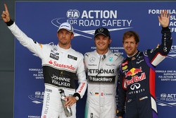 Polesitter Nico Rosberg, second place Jenson Button, third place Sebastian Vettel