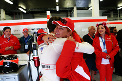 Jules Bianchi, Marussia F1 Team celebrates during qualifying with Sasha Cheglakov, Marussia Team Owner