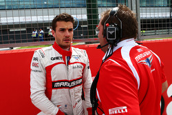 Jules Bianchi, Marussia F1 Team on the grid with Dave Greenwood, Marussia F1 Team Race Engineer