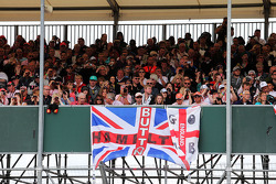 Banners by fans for Lewis Hamilton, Mercedes AMG F1 and Jenson Button, McLaren