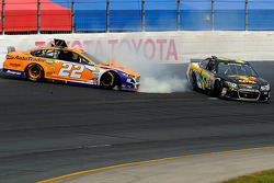 Joey Logano, Team Penske Ford and Morgan Shepherd crash