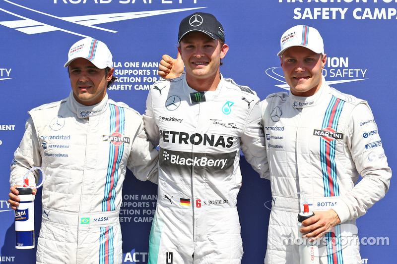 Polesitter Nico Rosberg, second place Valtteri Bottas, third place Felipe Massa