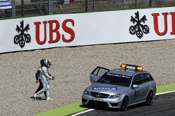 Lewis Hamilton, Mercedes AMG F1 walks to the Medical Car after he crashed out of qualifying