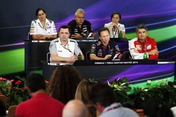 The FIA Press Conference, Sauber Team Principal; Dr. Vijay Mallya, Sahara Force India F1 Team Owner; Claire Williams, Williams Deputy Team Principal; Eric Boullier, McLaren Racing Director; Christian Horner, Red Bull Racing Team Principal; Marco Mattiacci