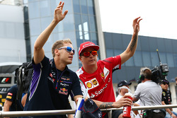 F1: Sebastian Vettel, Red Bull Racing and Kimi Raikkonen, Ferrari on the drivers parade.