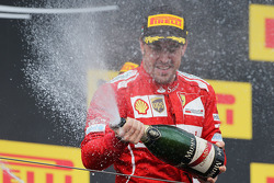 F1: Fernando Alonso, Ferrari celebrates his second position with the champagne on the podium