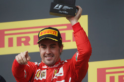 F1: Fernando Alonso, Ferrari celebrates his second position on the podium