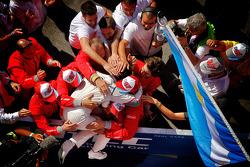 Race winner Jose Maria Lopez celebrates
