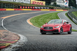 The Infiniti Q50 Eau Rouge on a promotional run through the Eau Rouge corner