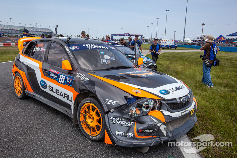 Subaru Cross Track >> Damage on the car of #81 Subaru Rally Team USA Subaru WRX STi: Bucky Lasek at GRC: Daytona