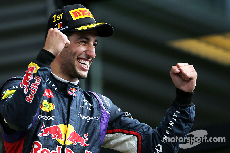 Podium: race winner Daniel Ricciardo celebrates