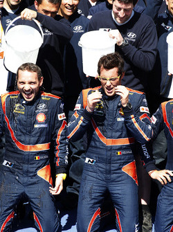 Winners Thierry Neuville and Nicolas Gilsoul take the ALS ice bucket challenge