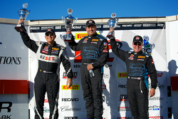 GTS Winners Podium: Jack Baldwin (second, left), Nick Esayian (first center), and Drew Regitz (third, right)
